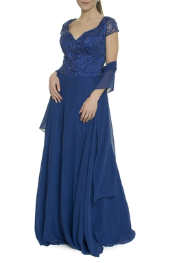 Vestido Azul Royal Top Bordado - DG17743
