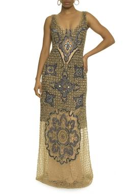 Vestido Bordado Dourado e Azul - DG17637