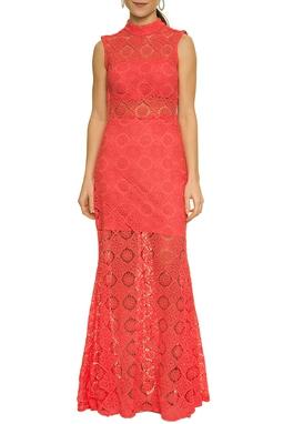 Vestido Coral Renda Gola Alta - DG17616