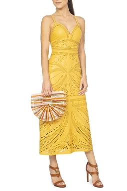 Vestido Couro Amarelo