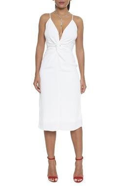 Vestido Crepe Midi Off White - DG16247