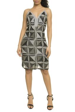 Vestido Curto Bordado Geometrico - P17EPVT10