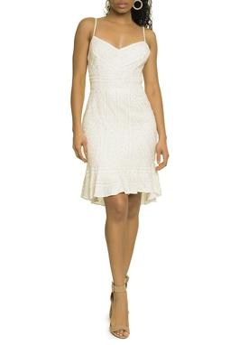Vestido Curto Bordado Off White - DG17493