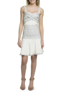 Vestido Curto Branco e Prata Glitter - DG17729
