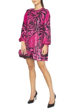 Vestido Curto com Bordado Tigre Pink