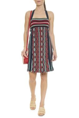Vestido Curto Crochet Listrado - DG15957