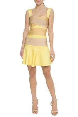 Vestido Curto Faixas Amarelo Nude - DG17727