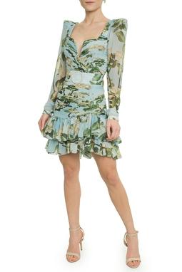 Vestido Curto Floral Cinto - DG17741