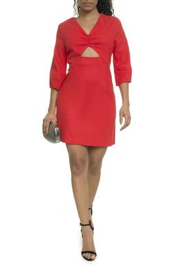 Vestido Curto Linho Vermelho - DG17987