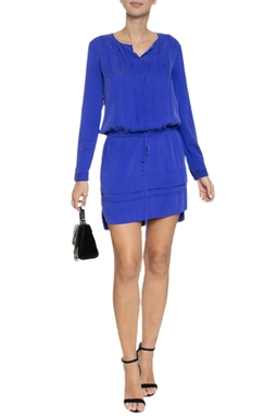 Vestido Curto Manga Longa Azul Royal - DG15629