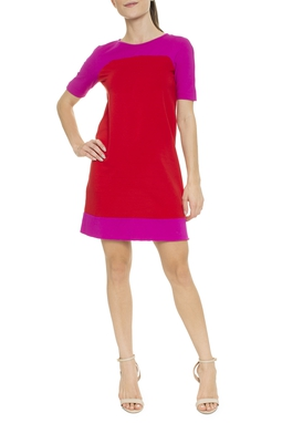 Vestido Curto MC  Reto Vermelho Rosa - DG16469