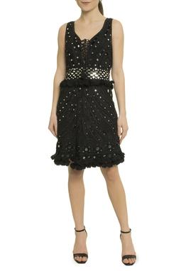 Vestido Curto Preto Espelhos - DG17772