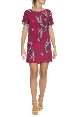 Vestido Curto T-Shirt Estampa Rosa - DG16744