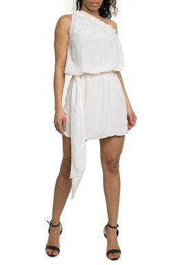 Vestido Curto Um Ombro Branco - Ateen