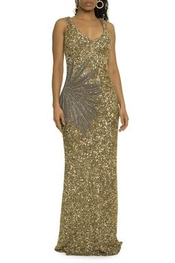 Vestido Dourado Bordado - DG17456