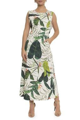 Vestido Estampa Tropical Bolsos - DG17051