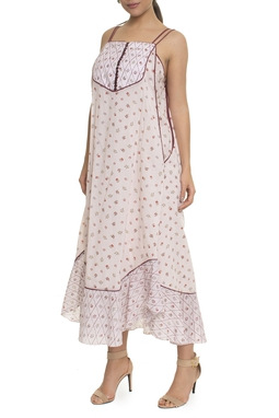 Vestido Estampado Alça Fina Combinete - DG17053