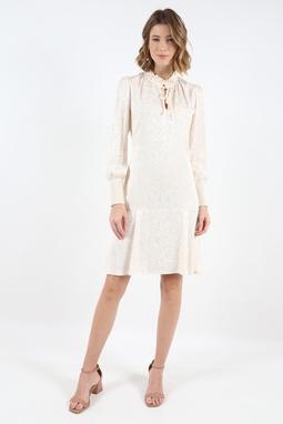 Vestido Gola Laço Jacquard Branco
