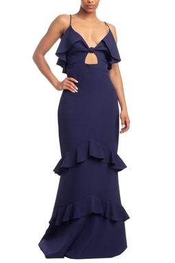 Vestido Longo Alça Azul Marinho HM - DG18591
