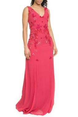 Vestido Longo Aplicação Flores - DG17700