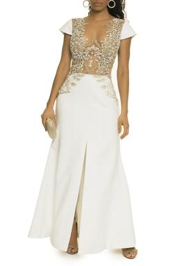 Vestido Longo Branco Bordado - DG17252