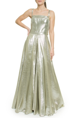 Vestido Longo de Lame Prata - DG17711