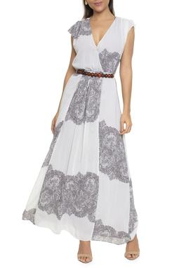 Vestido Longo Decote Transpassado Cinza - DG16715