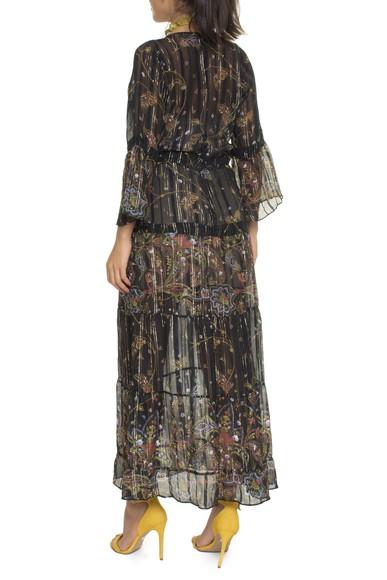 Vestido Longo Estampado Fundo Preto  - DG16717 Ateen