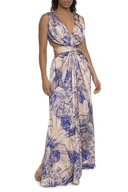 Vestido Longo Estampado Recortes - DG14754