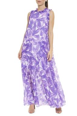 Vestido Longo Floral Lilás Bolsos - DG15880