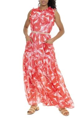 Vestido Longo Floral Vermelho Bolsos - DG15881