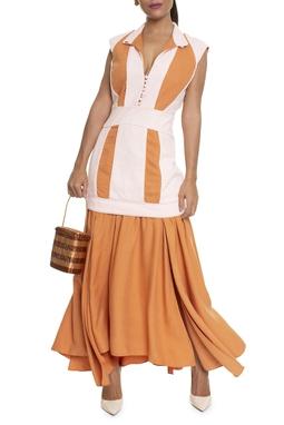 Vestido Longo Laranja Tecido Aplicado - DG15963