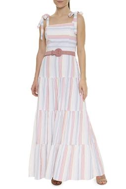 Vestido Longo Listras Coloridas - DG15878