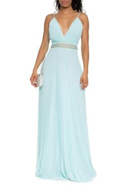 Vestido longo plissado alcinha fina com renda furadinha na cintura - DG16453
