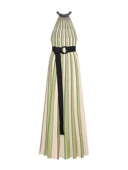 Vestido Longo Plissado Listras Verde USTYLE