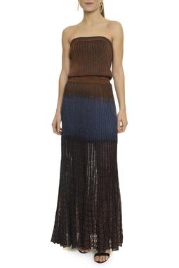 Vestido Longo Plissado Lurex - DG16884
