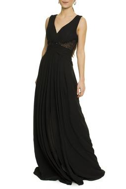 Vestido Longo Preto Recorte Bordado - DG17439