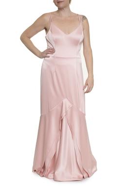 Vestido Longo Rosa Evasê - DG16784
