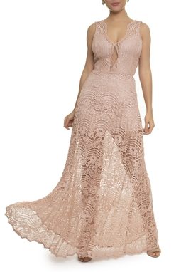 Vestido Longo Rose Bordado - DG17086