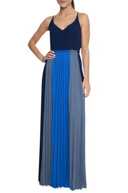 Vestido Longo Saia Plissada Tricolor - DG16789