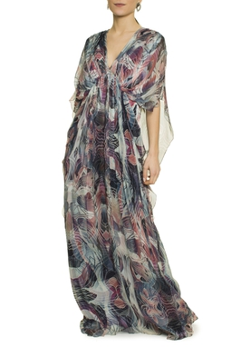 Vestido Longo Seda Manga Curta - DG17265