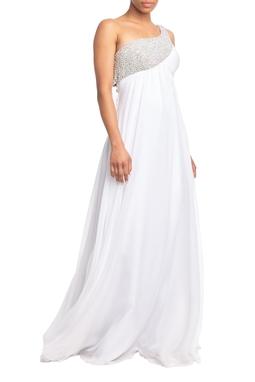 Vestido Longo Um Ombro Branco HM - DG18885
