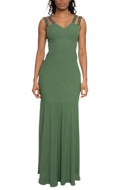 Vestido Longo Verde Alça Bordada - DG14759