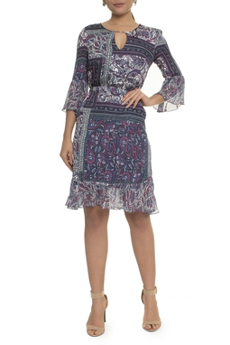 Vestido Manga Curta Estampa Paisley - DG16975