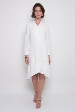 Vestido Maria Luiza Crepe Bordado Branco
