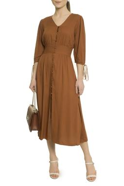 Vestido Marrom Botões - Curadoria Dress & Go