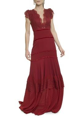 Vestido Marsala Renda - DG17924