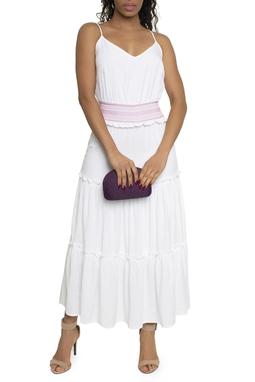Vestido Midi Branco Detalhe Rosa - DG14771