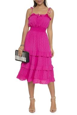 Vestido Midi Camadas Tecido Pois - DG16578