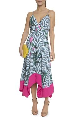 Vestido Midi Estampa Chevron Floral - DG14770